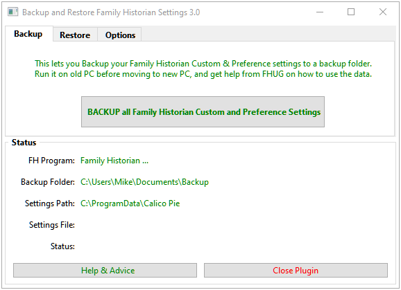 Backup and Restore Family Historian Settings