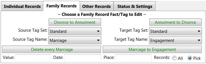 Family Records tab