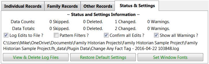Status & Settings tab