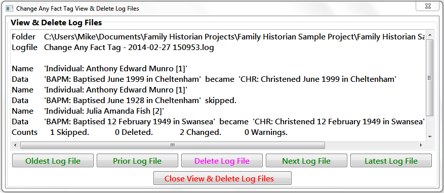 View & Delete Log Files