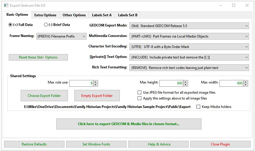 Export Gedcom File