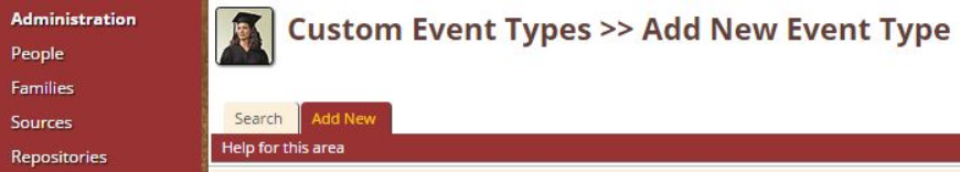 Custom Event Types > Add New Event Type