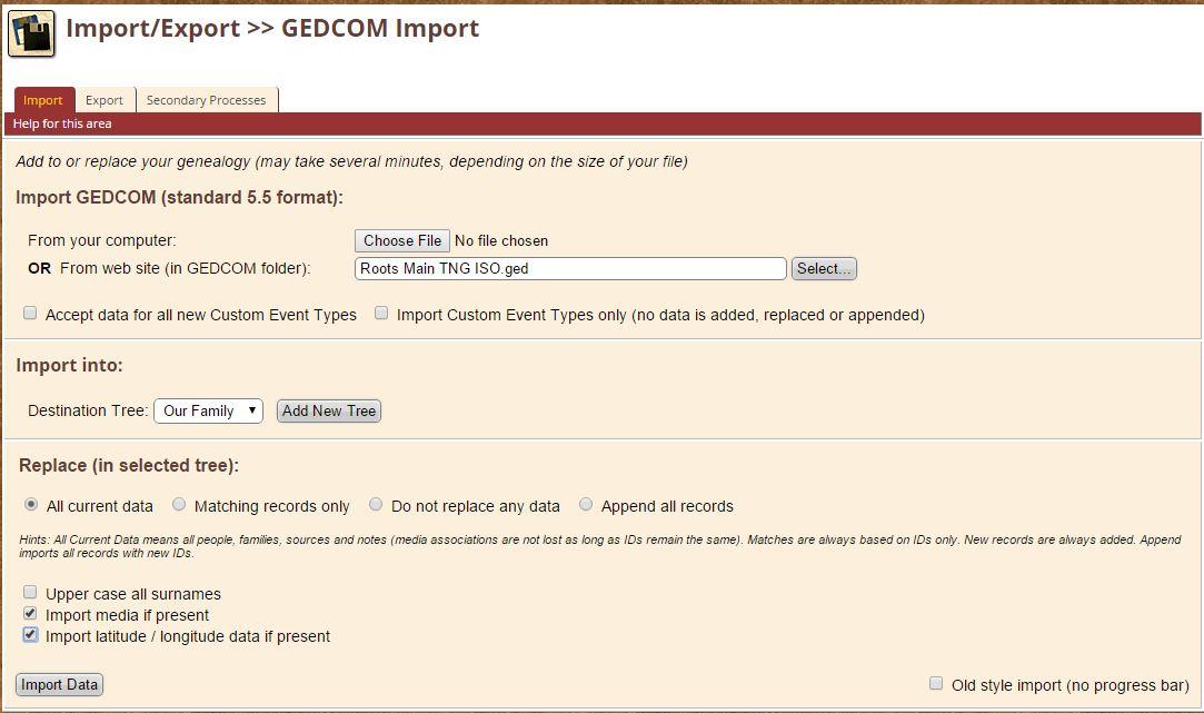 Import/Export > GEDCOM Import