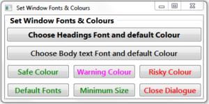 Set Window Fonts & Colours